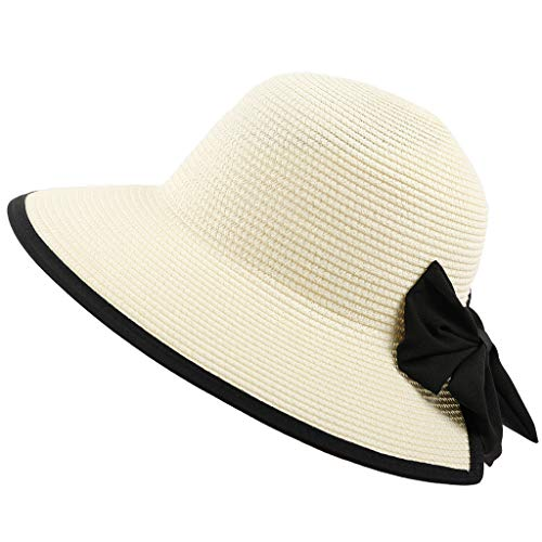 Junjie Leichte Faltbare Packable Beach Sun Hut dekorative Bogen Hut Sonnenschutz Sonnenschutz Bogen Strohhalm grau, weiß, Beige, Kaffee, Khaki, Rosa