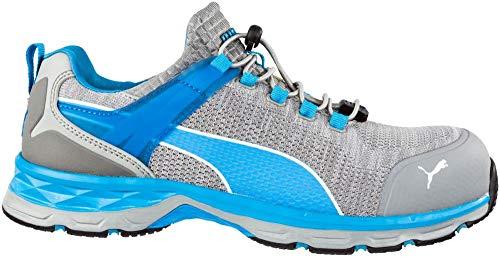Puma Safety 643860Xcite Grey Low S1P–Scarpe antinfortunistiche Scarpe da lavoro uomo in fibra di vetro tappo, sportivo, traspirante, Grigio/Blu, 64.386.0