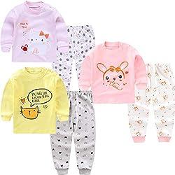 XM-Amigo 3Set/Pack Impression de Dessin animé bébé Filles Coton Pyjama Bébé Coton Pyjama Four Seasons sous-vêtements Ensembles Enfants