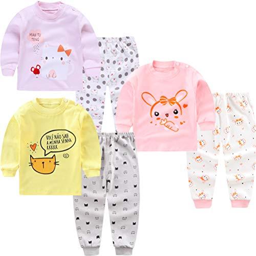 XM-Amigo Baby Mädchen Baumwolle Thermounterwäsche 3Set Thermounterhemden Thermo-Unterhosen Ski Funktionsunterwäsche für Winter Thermounterwäsche-Sets Lange Unterwäsche,Thermo-Pyjama für Baby Mädchen