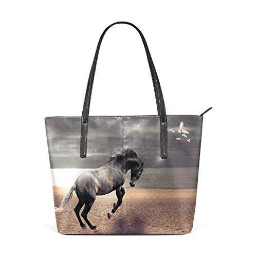 Eslifey Brown Horse Running For PigeonsBraunes Pferd, das für Tauben läuft Portemonnaie PU Leder Schulter Tasche Geldbörse für Damen Mädchen Damen -