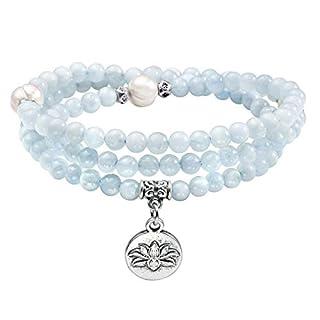 JOVIVI 4mm 108 Perlen Tibetisches Yoga Edelstein Armband mit Lotus Anhänger Wickelarmband Buddhismus Mala Kette Gebetskette (Aquamarin)