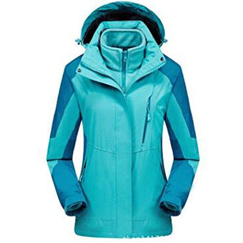 WU LAI Outdoors Jacken Damen Große Größe Triple Zweiteilige Kletterbekleidung Plus Samt Verdickung Wärmende Jacke,Moonland-XXXL (Jacke Wear Wu)