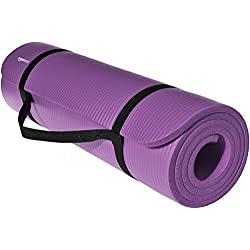 AmazonBasics 1/2-Inch Extra Thick Yoga and Exercise Mat with Carrying Strap, Purple