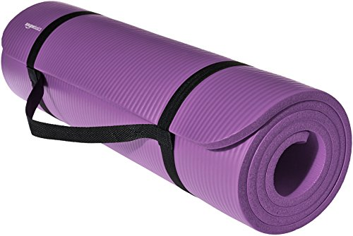 AmazonBasics 13mm Extra Thick Yoga and Exercise Mat with Carrying Strap, Purple