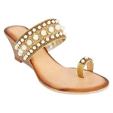 Catwalk Women's Pearl Detail Toe Ring Wedges - 4 UK/India (36 EU) (3928XX-4) Gold