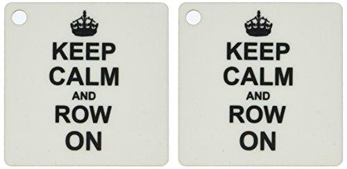3drose Keep Calm and Reihen auf Sport Rudergerät-Geschenke-Schwarz Fun Dejeuner Kanu fahren Humor-Schlüssel Ketten, 5,7x 5,7cm, Set 2Stück (KC 157766_ 1)