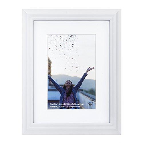 RPJC 10,2x 15,2cm Bilderrahmen aus Massivem Holz und High Definition Glas für Tisch klappbar und Wandmontage Bilderrahmen Art Deco 6x8 Mat 4x6 White-Line Edge -