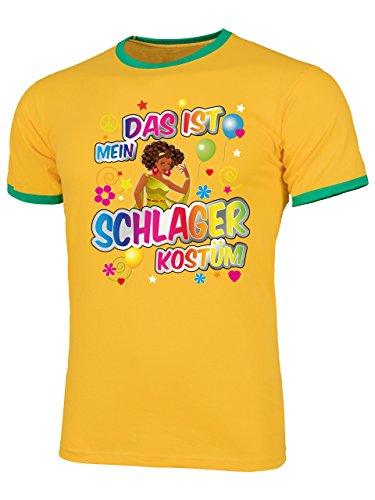 Schlager Kostüm Männer T-Shirt Motto Party Karneval Fasching Outfit Schlagershirt Faschingskostüm Schlagerkostüm Accessoires Hemd Gelb Grün