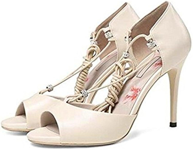 TGKHUS Sandalias Lady Zapatos De Boca De Cuero De Tacón Alto De Vacío