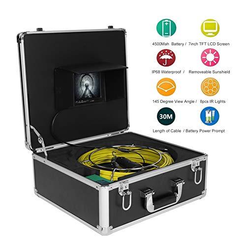 Tosuny Rohrinspektionskamera, 9 Zoll LCD 1000 TVL Unterwasser-Abflussrohr-Inspektionsvideokamera IP68, wasserdichtes Endoskop, 145 ° Weitwinkel(EU-Stecker)