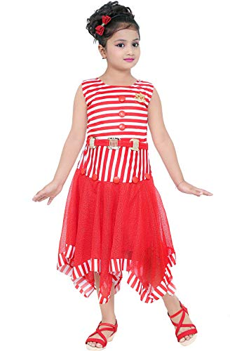 62f430289 DIGIMART Girl s Red Cotton Crepe Stripe Printed Frock (SBNGC0422 ...
