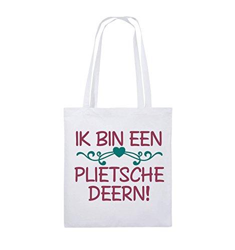 Comedy Bags - IK BIN EEN PLIETSCHE DEERN! - Jutebeutel - lange Henkel - 38x42cm - Farbe: Schwarz / Weiss-Hellblau Weiss / Fuchsia-Türkis