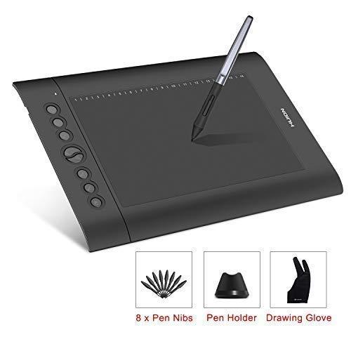 HUION H610 Pro V2 Grafiktablett Neigungsunterstützung Batterieloser Stift mit 8192 Pen Druckempfindlichkeit und 8 Hot Keys für Windows und Mac Digitale Zeichnung (Pen Digital Windows Für)