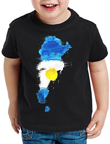 CottonCloud Flagge Argentinien Kinder T-Shirt Fußball Sport Argentina WM EM Fahne, Farbe:Schwarz, Größe:116