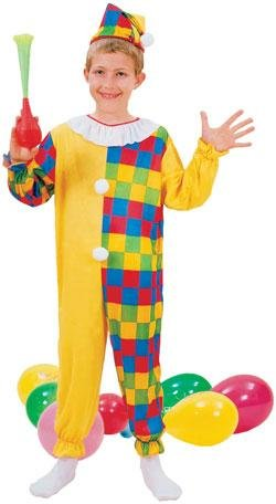 Large checked clown fancy dress ()