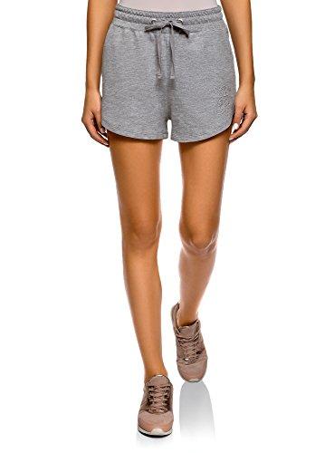 oodji Ultra Damen Baumwoll-Shorts mit Bindebändern, Grau, DE 42 / EU 44 / XL