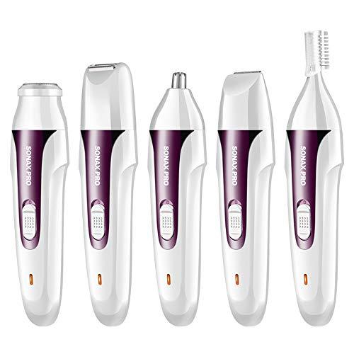 MMRLY Damen-Rasierer, 5-in-1, wiederaufladbar, USB, für die Haarentfernung, elektrischer Haarschaber, auch EIN professioneller Multi-Rasierer violett