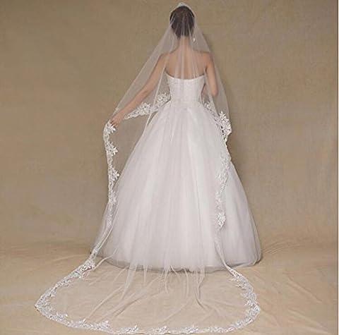 XY-QXZB Hochzeit Schleier europäischen und amerikanischen Frauen Brautkleider lange weiße 3m Heckkleider schöne Spitze Braut Braut Zubehör Schleier