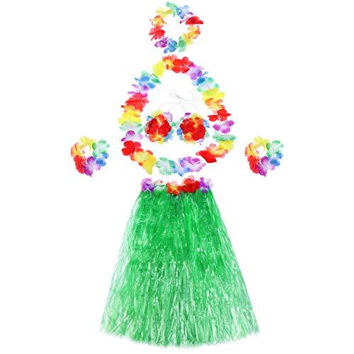 Tropical Hula Grass Dance Rock BH Blume Armbänder Stirnband Collier-Set (grün) ()