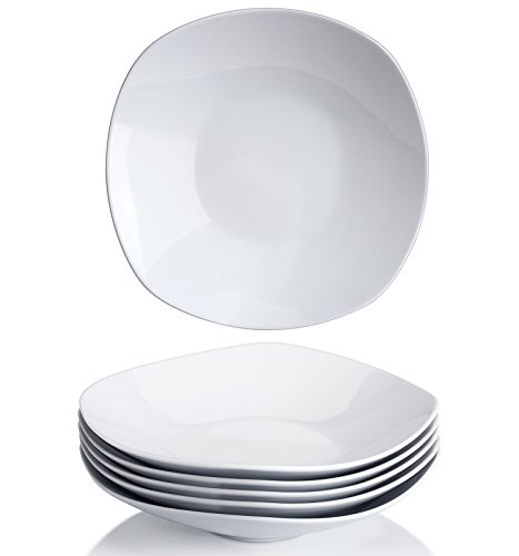 Y YHY 9 Inches Porcelain Salad Pasta Bowls, White Square Bowl Set, Wide and Shallow, Set of 6