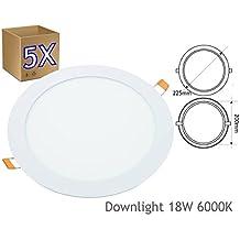 Jandei - 5x Downlight led 18W 6000K redondo empotrar blanco