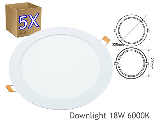 JANDEI - 5x Downlight LED 18W Redondo Plano De Empotrar Luz Blanca...