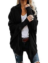 Hellomiko Chunky para Mujer de Punto Casual Batwing Manga Larga suéter Abrigo Prendas de Punto Outwear tamaño UK 8-18