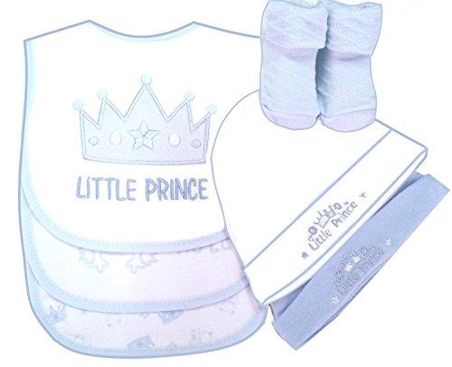 """Baby Geschenkset 6 Teile""""Little Prince"""" hellblau Newborn Baby Jungen Geburt Taufe Lätzchen Babysöckchen Babymützchen Weihnachten"""