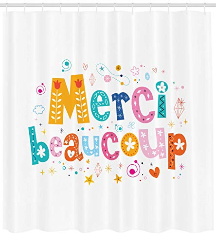 ZKHTO French Script Shower Curtain, Merci Beaucoup Quote Written with Flowers Balloons Congratulations Pattern, Cloth Fabric Bathroom Decor Set with Hooks, 66 X 72 Inches