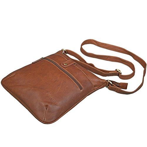 STILORD 'Lina' Borsa a tracolla da donna pelle piccola borsa per tablet 10.1 pollici borsa da sera borsa a mano vera pelle, Colore:marrone antico cognac-marrone
