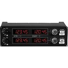 Logitech G Saitek Pro Flight Radiofaneel, radioschakelbord voor vluchtsimulatoren, 4 aparte led-displays met regelaars, USB-aansluiting, modulair en aanpasbaar, PC, zwart