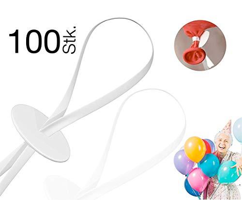 100x Ballonverschlüsse Verschlüsse Verschluss, Made in Germany Ballonband Schnellverschluss Ballonverschluss Ballonbänder Luftballons Helium & Luft, Luftballonverschlüsse transparent