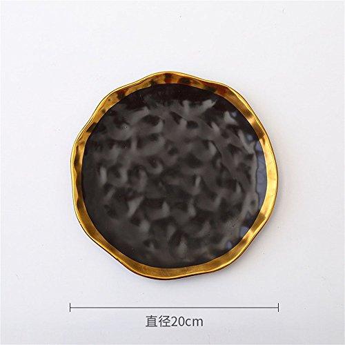 SunyixinNiuB Keramik-Gerichte,Steak-Platten,Obstsalat,Erfrischungen,Hausgerichte,Schwarz 10 Zoll