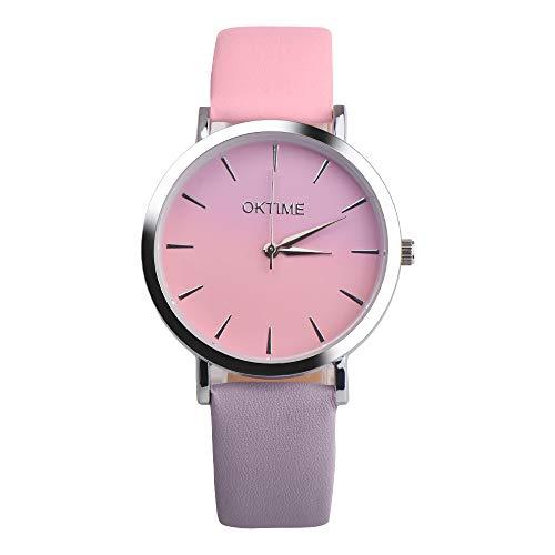 LOPILY Unisex Armbanduhr Retro Rainbow Design Lederband Analog Alloy Quarz Uhr Wrist Watch Geburtstag Jahr/Weihnachten Geschenk