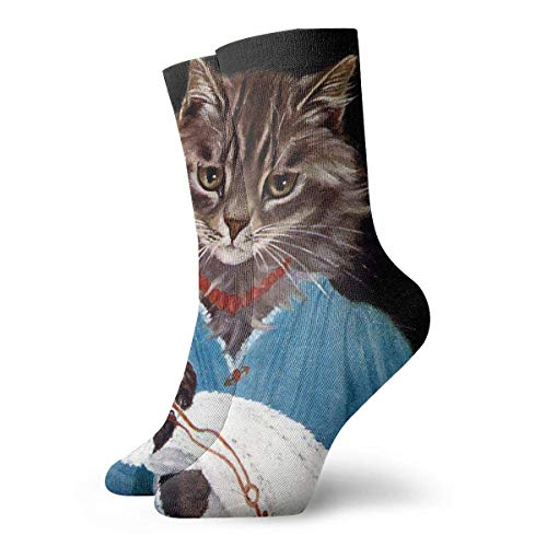 Socks Funny Colorful,Cats Kittens Mothers Child Children Parents Infants Toddlers Baby Babies Vintage Retro Anthropomorphic Whimsical Animals_1405,100%Cotton Non Slip for Men Women 15.7inch one size.