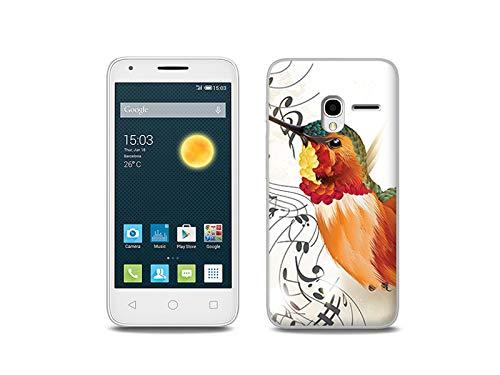 etuo Handyhülle für Alcatel One Touch PIXI 3 (4.5) - Hülle, Silikon, Gummi Schutzhülle - Kolibri mit Noten