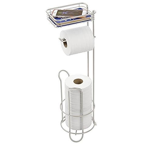 mDesign Toilettenpapierhalter stehend – Papierrollenhalter mit Ablage und für 2