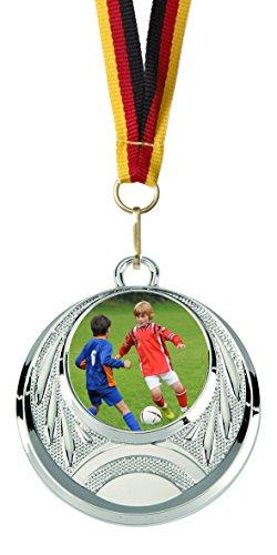 Junioren-folie (10er-Set Medaillen »Fußball« für Kinder, Jugend und Junioren, mit 25 mm Sportfoto-Emblem (Folie, bunt))