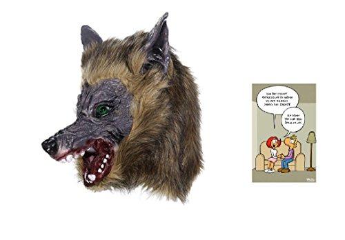 NV Faschingskostüm - Maske Werwolf & Postkarte Ich gönn Dir nur den Spaß Nicht- Set ~