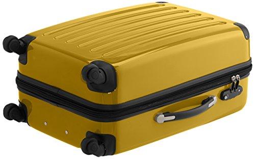 HAUPTSTADTKOFFER - Alex - 2er Koffer-Set Hartschale glänzend, TSA, 65 cm + 55 cm, 74 Liter + 42 Liter, Orange-Aubergine Schwarz-Gelb