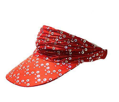 Visor Summercap Cap offen Kappe Sonnenschutz Sport Cappie Tennis Star half cap halfcap Pailletten paisley rot