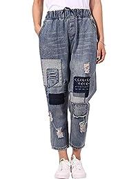 Huixin Jeans Boyfriend da Donna Vita con Elastica in Vita da Costume Donna  con Effetti Distrutti E Toppe Pantaloni… 5cad1f38581d