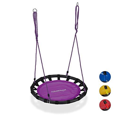 Relaxdays Nestschaukel, runde Hängeschaukel, für Kinder & Erwachsene, verstellbar, draußen, Ø: 80 cm, bis 100 kg, lila (Kinder-terrasse-gartenmöbel)
