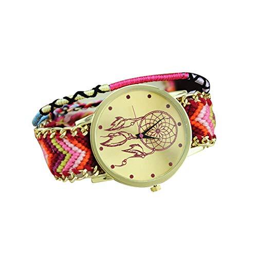 AIUIN 1X Reloj Cuarzo de Mujers Patrón de Atrapasueños Relojes de Pulsera(Correa Cuerda Color Aleatorio)