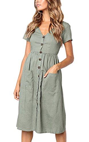 Angashion Women's Short Sleeve Casual Summer Dress with Pockets Grau Grün M