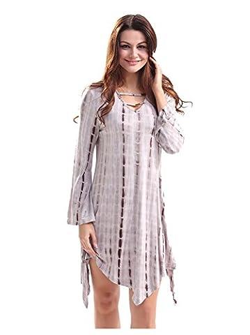 Good dress V-Ausschnitt mit langen Ärmeln Kleid,braun,M