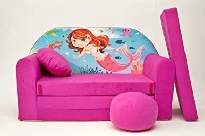Kids Sofa Bed Futon Childs Furniture+free Pouffe/footstool&pillow (h4)