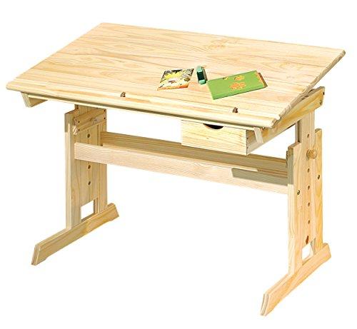 Inter Link Schülerschreibtisch Schreibtisch Arbeitstisch Kinderschreibtisch Massivholz Natur lackiert BxHxT: 109 x 63-96 x 55 cm