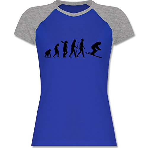 Shirtracer Evolution - Skiabfahrt Evolution - Zweifarbiges Baseballshirt/Raglan T-Shirt für Damen Royalblau/Grau meliert